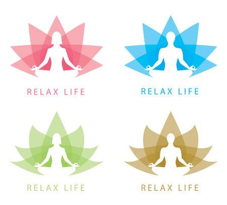 Man and woman in abstract lotus design. Vector illustration. Relax symbol icon Stock Vector - 28558532