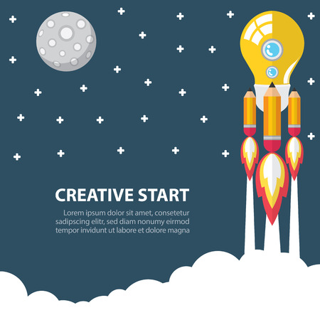 Art launch light bulb and pencil rocket with moon, star, sky space  Creative start concept  illustration  Flat design Ilustracja