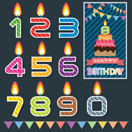 lit candles: Colorful birthday candle with birthday cake card  illustration  Flat design