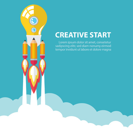 raumschiff: Kunst Einführung Glühbirne und Bleistift Rakete mit Himmel Platz kreativen Start Konzept Illustration Flache Bauweise
