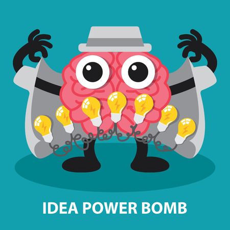 brain storm: Brain with power idea bomb, creative idea concept illustration  Cartoon flat design