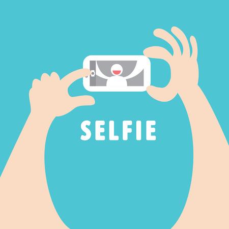 při pohledu na fotoaparát: Užívání autoportrét s chytrý telefon Cartoonillustration plochému designu Selfie koncepce