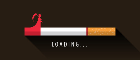 Cigarette with grim reaper loading to death   Vector