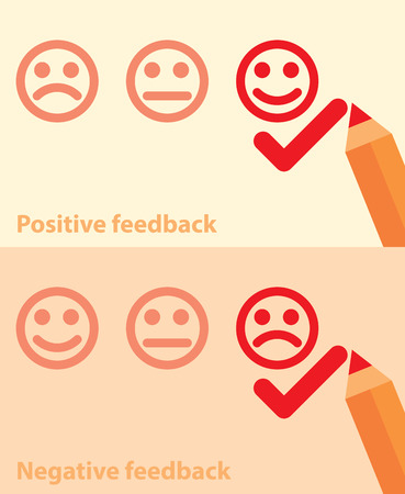 appraise: Vector illustration of positive and negative feedback concept  Minimal and flat design