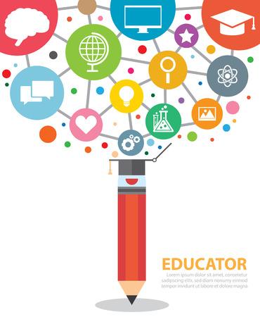 ni�os estudiando: Abra l�piz creativo con los iconos de la educaci�n. Ilustraci�n del vector. Concepto educador moderno Vectores