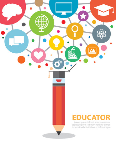 Open creative pencil with icons of education. Vector illustration. Modern educator concept Çizim