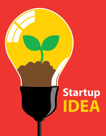 growing business: Green sprout growing from idea. Business grow and startup concept.  Illustration