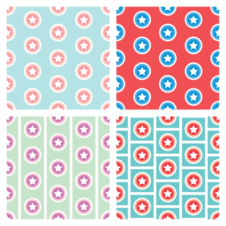 Star in circle seamless pattern background set.  Vector