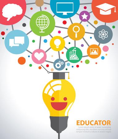 niños estudiando: Abrir bombilla creativa con los iconos de la educación. Vectores