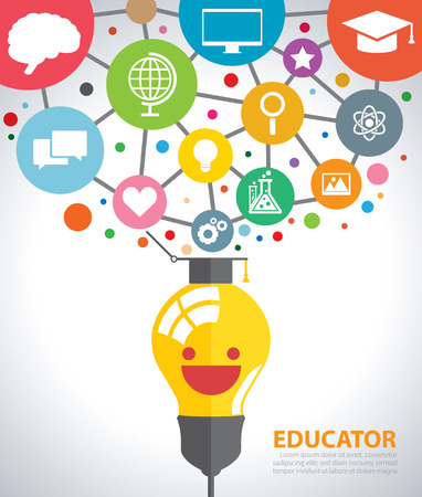 Open creative light bulb with icons of education.  Illustration