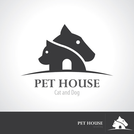 gray cat: Pet house icon symbol design.  Illustration