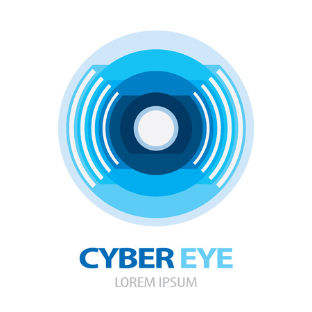 ojo azul: Ciber icono azul s�mbolo de los ojos.