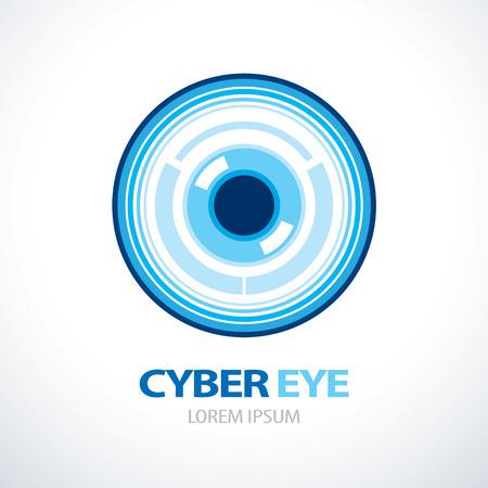 ojo azul: Ciber ojo azul dise�o del icono del s�mbolo. Vectores