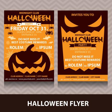 halloween poster: Carta di invito Halloween. Illustrazione vettoriale. design minimale e piatto. Pu� essere utilizzato per il manifesto disegno della copertura, flyer, brochure, carta