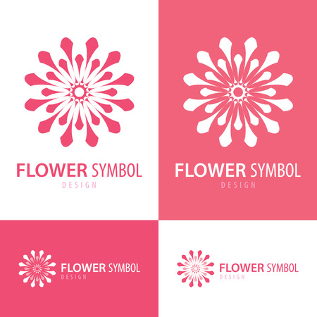 minimal: Pink and white flower symbol icon design with business card. Vector illustration. Minimal style