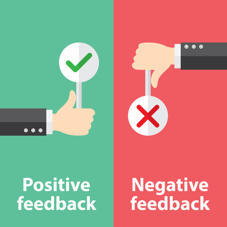Business hand thumb up with true and false sign. Vector illustration of positive and negative feedback concept. Minimal and flat design Çizim
