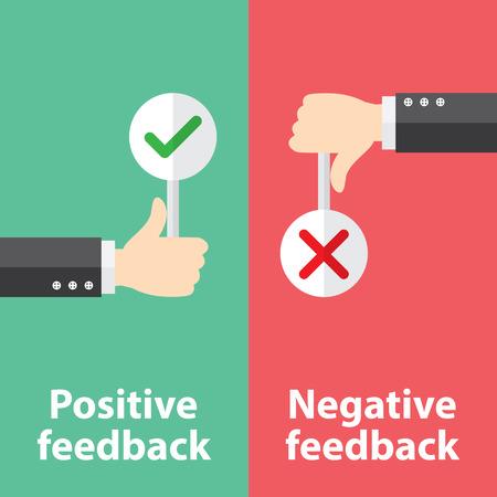 Negocio mano pulgar arriba con signo verdadero y falso. Ilustración vectorial del concepto de retroalimentación positiva y negativa. Diseño minimalista y plano.