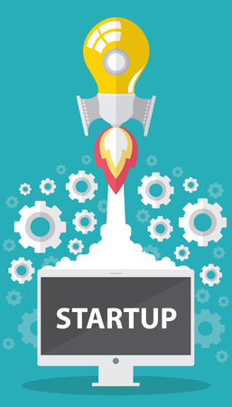 Art launch light bulb Creative and startup concept. Vector illustration. Flat design, can be cover design for poster, flyer, brochure