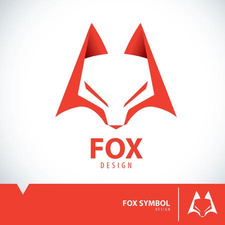 Orange geometric fox symbol icon design. Vector illustration