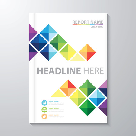 leaflet: Abstract colorful triangle background. Cover design template layout in A4 size for annual report, brochure, flyer, vector illustration
