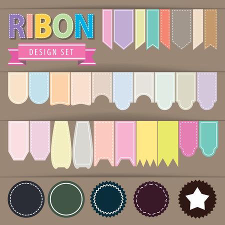 Ribbon set. Vector illustration. flat style, pastel colour Vector