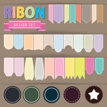 pastel colour: Ribbon set. Vector illustration. flat style, pastel colour Illustration