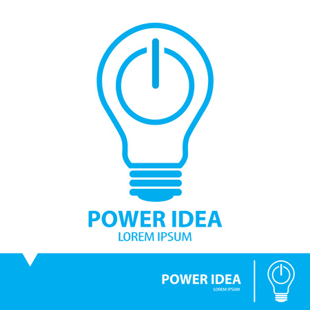bulb light: Power idea symbol icon, Flat and minimal design,line style, vector illustration. Idea concept