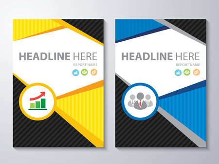 Abstract yellow and blue background. Cover design template layout in A4 size for annual report, brochure, flyer, vector illustration 矢量图像