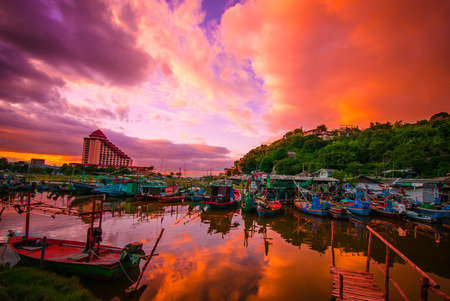 hua hin: Fishing boats in Hua Hin, Thailand, Sunset time Stock Photo