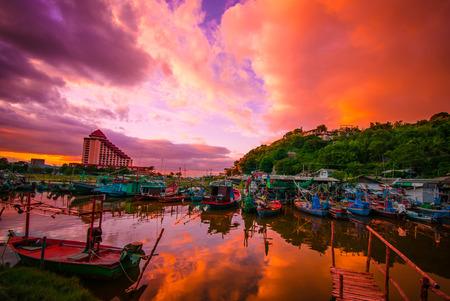 hin: Fishing boats in Hua Hin, Thailand, Sunset time Stock Photo