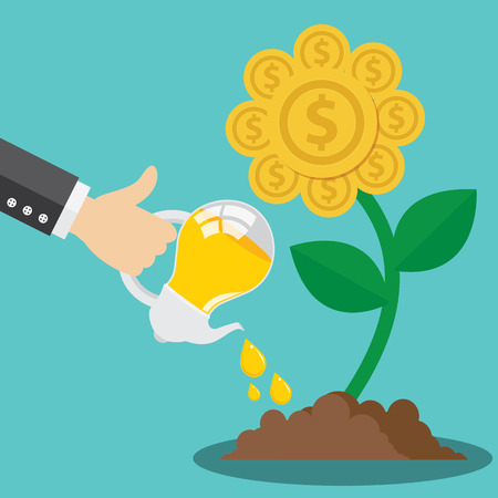 Business hand use light bulb watering golden flower coin plant Vector