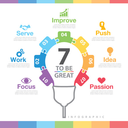 focus on: 7 to be great infographic Illustration