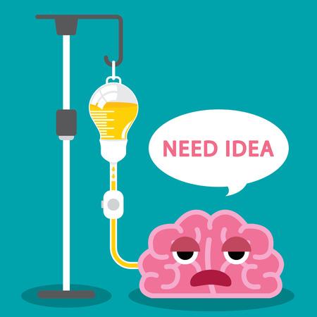 saline: Sick brain use light bulb saline bag Illustration