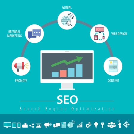 Concept of SEO word combined from elements and icons Çizim