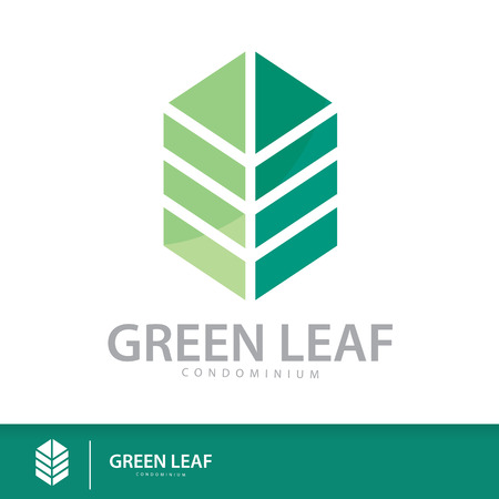construction logo: Green leaf condominium logo template design elements, Real Estate symbols icon. vector illustration, Sustainability construction concept Illustration