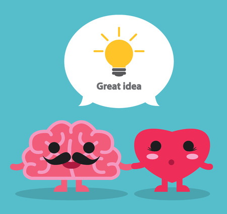 Great Idea from brain and heart. Vector illustration. Creative concept