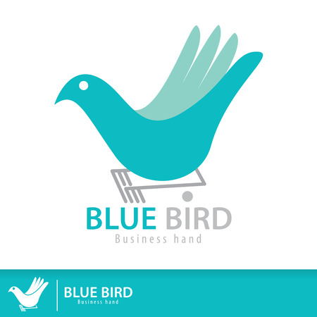 Blue bird in business hand shape symbol icon. Vector illustration. Logo template design. Freedom creative business Vector