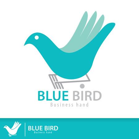 hand logo: Blue bird in business hand shape symbol icon. Vector illustration. Logo template design. Freedom creative business