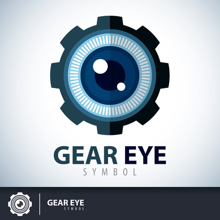 Gear eye symbol icon. Logo template design. Vector illustration.