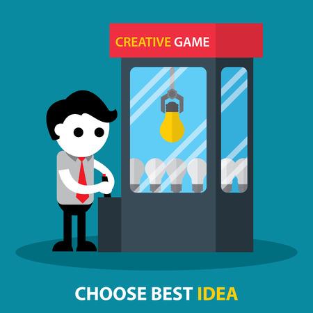 Choosing best light bulb from group. Best idea concept. Flat design. Vector illustration