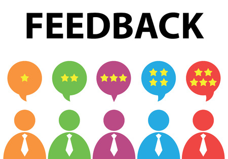evaluation: People give star rating to feedback. Vector illustration. Flat design. Reviews and discussion concept