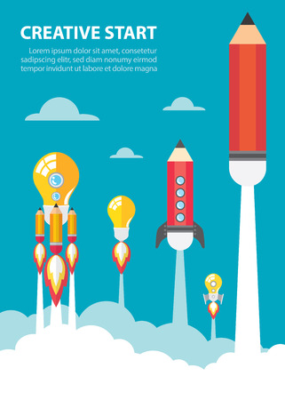 cartoon rocket: Art launch light bulb and pencil rocket with sky space. Creative start concept. Vector illustration. Flat design
