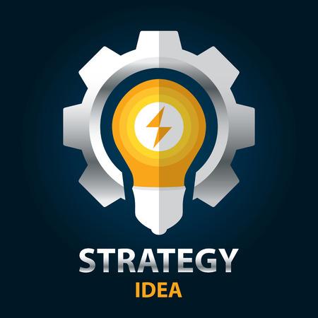 metal light bulb icon: Strategy idea symbol icon. Vector illustration. icon template design.  Creative solution concept