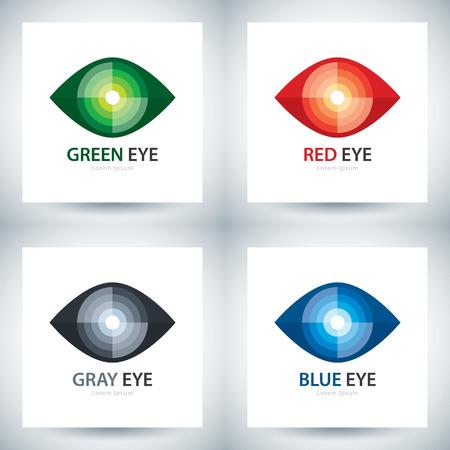ojos verdes: Ciber símbolo del ojo conjunto de iconos, diseño de la plantilla del logotipo. ilustración vectorial Vectores