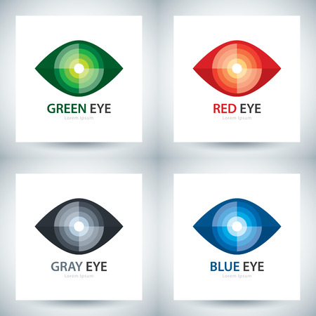 Cyber ​​oog symbool icon set, Logo template design. vector illustratie