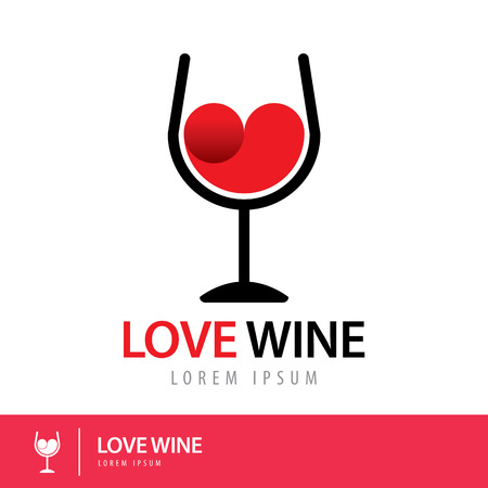 red wine glass: Red wine heart shape in the glass. Symbol icon design. Love wine concept. Vector illustration