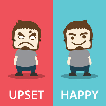 Before and after, unhappy man becomes very happy man. Vector illustration. Flat design. Emotion concept