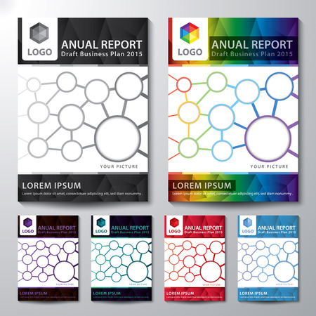 Abstract low polygon background. Cover design template layout in A4 size for annual report set, brochure, flyer, Vector illustration Ilustração