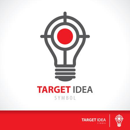 conceptual ideas: Target idea symbol icon. Hit the inspiration concept. Vector illustration. Logo template design Illustration
