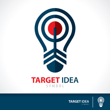 conceptual bulb: Arrow hit target in light bulb shape symbol icon. Hit the inspiration concept. Vector illustration. Logo template design for corporate business Illustration